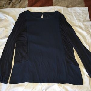 LOFT dark blue, long sleeve blouse.